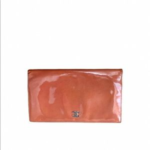 Auth Chanel Long Orange Patent Leather Wallet